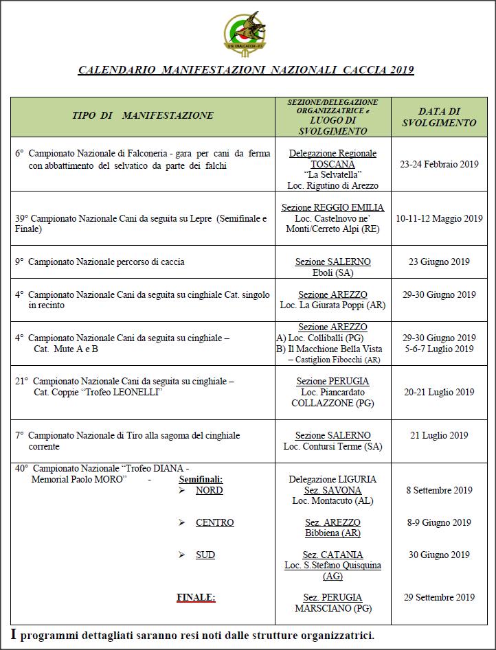 Calendario Venatorio 2020 Campania.Associazione Venatoria Unione Nazionale Enalcaccia Pesca E