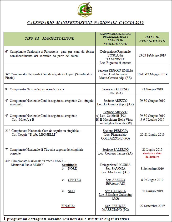 Calendario Pesca Sportiva Fvg 2020.Calendario Manifestazioni Nazionali Enalcaccia 2019 10 07