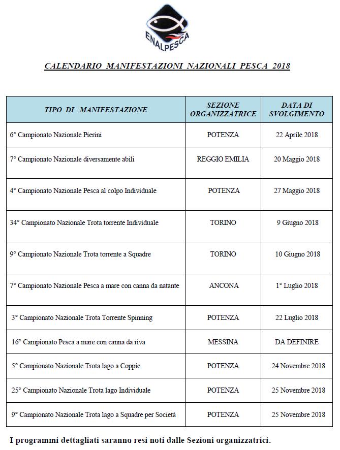 Calendario Pesca Sportiva Fvg 2020.Calendario Manifestazioni Nazionali Enalpesca 2018 08 05